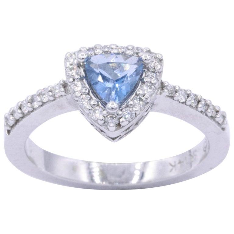 Trillion Aquamarine Diamond Halo Ring