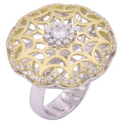 Yellow Mat and White Gold Antique Look Art Deco Cocktail Diamond Ring
