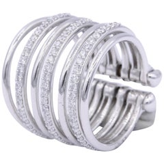 Italian White Gold and Diamond Multilayer Flexible Band Ring