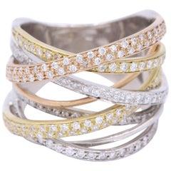 Unique Italian Tritone Wrap Fashion Multiband Ring
