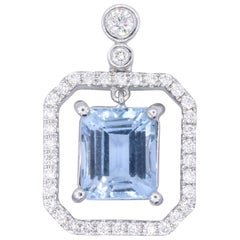 Emerald Cut Aquamarine Halo Diamonds Pendant