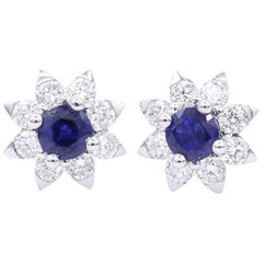 Sapphire and Diamond Halo Studs Earrings