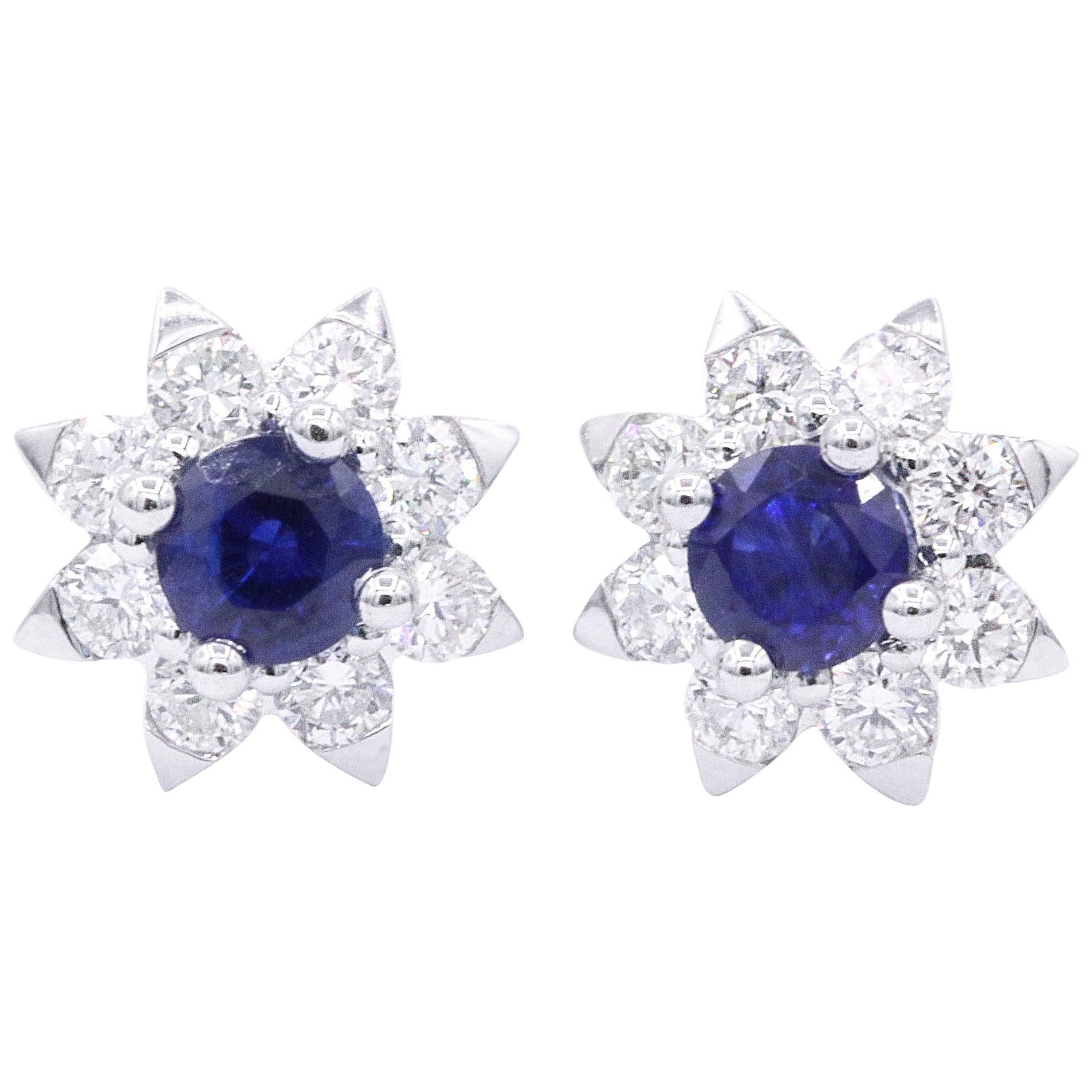 Sapphire and Diamond Halo Studs Earrings