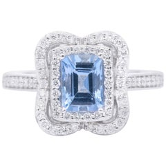 Emerald Cut Aquamarine with Diamonds Halo Cocktail Ring