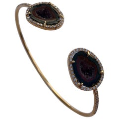 Karolin Rose Gold White Diamond Agate Geode Bracelet