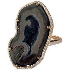 Karolin Rose Gold Brown Agate Geode White Pave Diamond Cocktail Ring