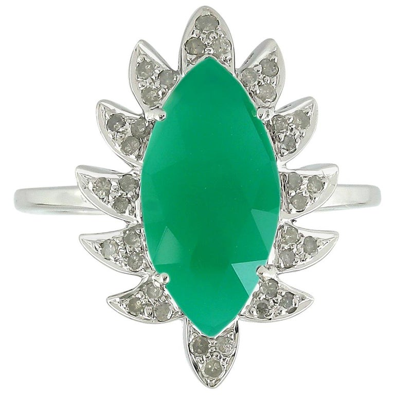 Meghna Jewels Claw Marquise Green Onyx and Diamonds Cocktail Ring