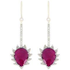 Meghna Jewels Claw Linear Drop Earrings in Rubelite and Diamonds