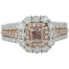 18 Karat White and Rose Gold 0.51 Carat Pink Diamond Ring