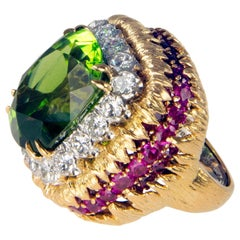 1960s David Webb Peridot Diamond Ruby Gold Ring