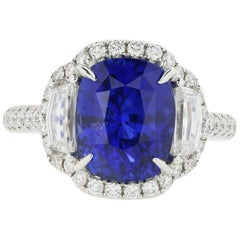 18 Karat White Gold 6.08 Carat Ceylon Cushion Cut Sapphire and Diamond Halo Ring