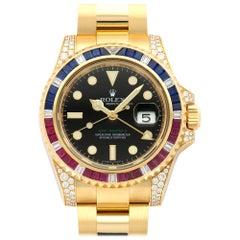 Rolex Yellow Gold GMT-Master II Sapphire Ruby Diamond Watch Ref 116758