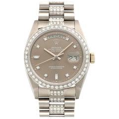 Rolex White Gold Day-Date Diamond Bracelet Watch Ref. 18049