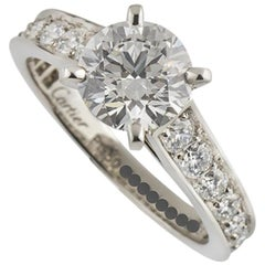 Cartier Diamond Platinum Engagement Ring 1.52 Carat GIA Certified