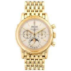 Patek Philippe Yellow Gold Perpetual Calendar Chronograph Wristwatch Ref 3970J