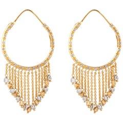 22 Karat Two-Tone Gold Hoop Dangle Earrings