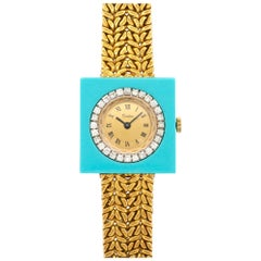 Cartier Ladies Yellow Gold Diamond Turquoise Manual Wind Wristwatch, circa 1970s