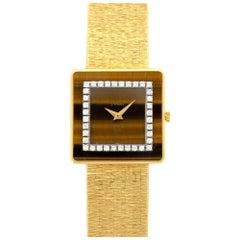 Piaget Yellow Gold Tigers Eye Diamond Manual Wind Wristwatch, circa 1970s