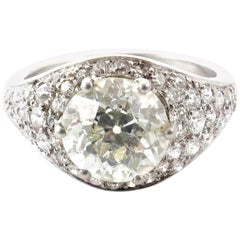 Art Deco 3.09 Carat Old European Cut Diamond Platinum Engagement Ring