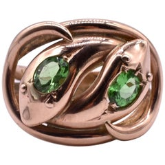 Antique Green Garnet Double Snake Ring