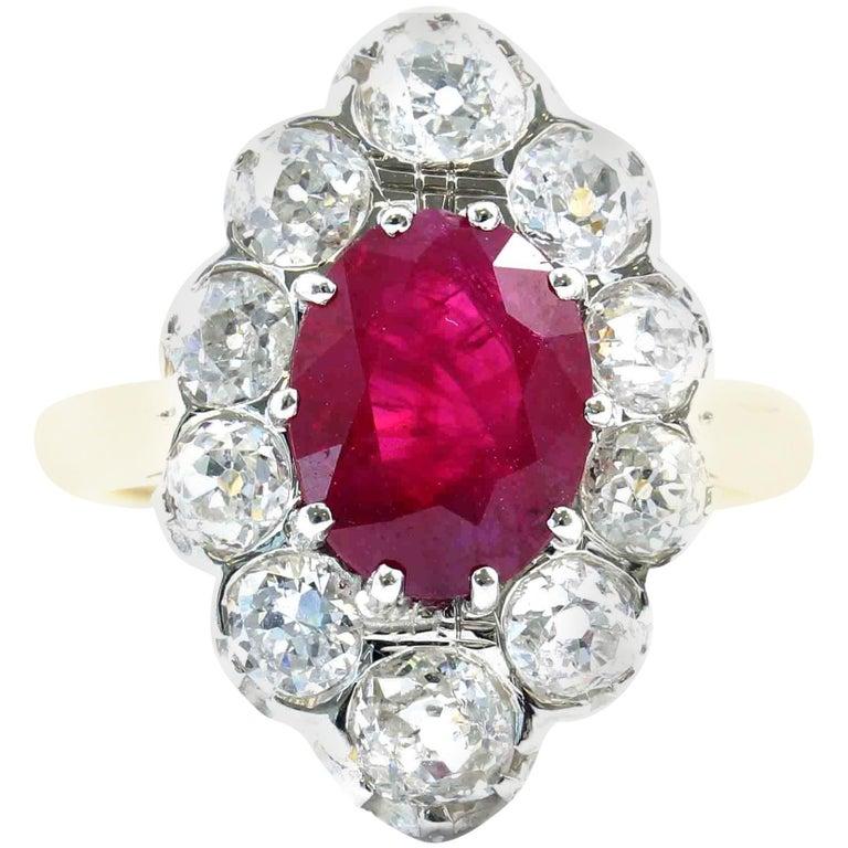 French Art Deco Certified Burma Ruby Diamond Platinum Gold Ring