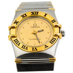 Omega Constellation Yellow Gold Stainless Steel Quartz Wristwatch