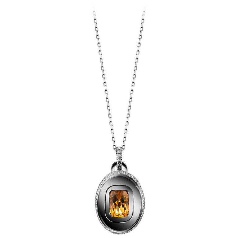 Alexandra Mor Citrine Diamond Gold Platinum November Birthstone Pendant