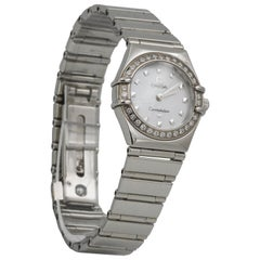 Omega Ladies Stainless Steel Diamond Constellation Wristwatch