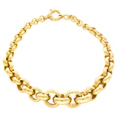 14 Karat Yellow Gold Tapered Circle Link Necklace