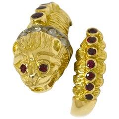 Lalaounis Ruby Diamond Snake Ring Chimera Lion