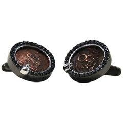 Spanish Pirate Coin Cufflinks  Black Diamonds Black Rhodium