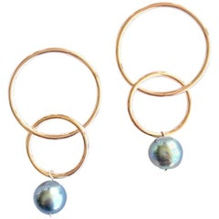 Andrea Estelle 14 Karat Gold with Tahitian Pearl Hoop Earrings