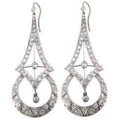 Platinum Art Deco Inspired 3.50 Carat Diamond Earrings