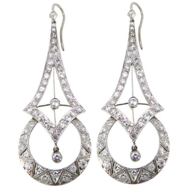 Platinum Art Deco Inspired 3.50 Carat Diamond Earrings