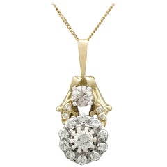 Antique and Contemporary Diamond and Yellow Gold Cluster Pendant