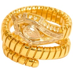 18 Karat Late 20th Century Gold Tubogas Diamond Snake Crossover Ring