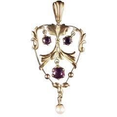 Antique Edwardian Amethyst Pearl Pendant 9 Carat, circa 1910