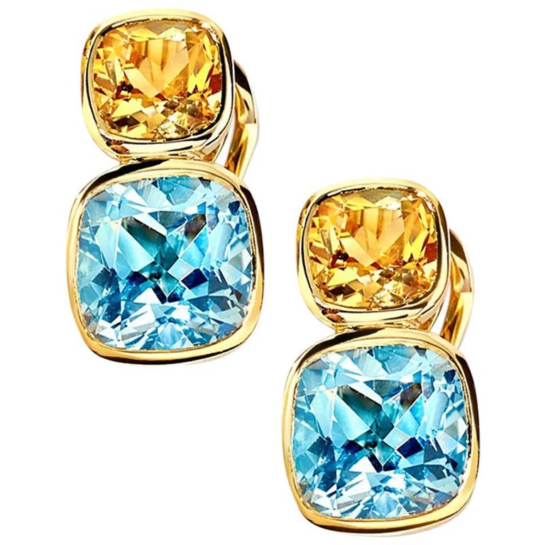 Cassandra Goad Qin and Han Yellow Goad Citrine and Blue Topaz Earrings