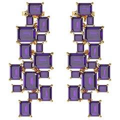 Ferrucci Natural Purple Amethyst Chandelier Earrings in 18 Karat Yellow Gold