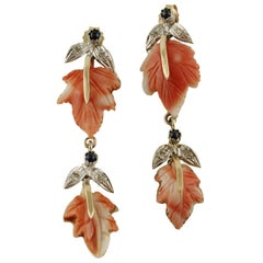 Diamonds Blue Sapphires Coral Leaves Rose and White Gold Earrings