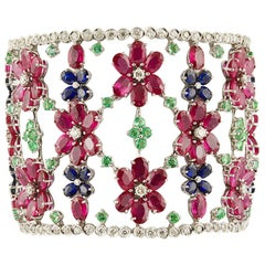White Diamonds Rubies Emeralds Blue Sapphire White Gold Bracelet