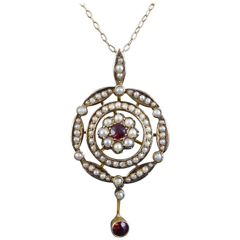 Antique Garnet and Seed Pearl Necklace Set in 9 Carat Gold