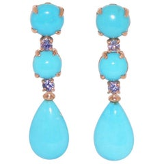 Turquoises and Tanzanites on Rose Gold 18 Karat Chandelier Earrings