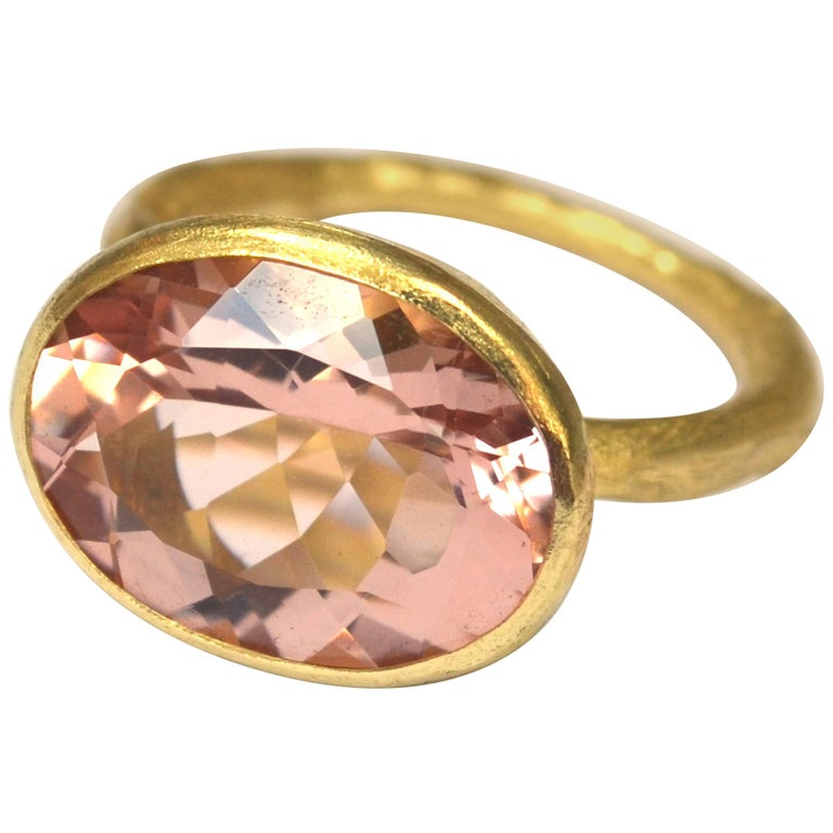 18k Handmade Gold Organic Texture Ring with 7ct Oval Morganite by Disa Allsopp For Sale