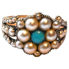 Antique Gold Natural Pearl and Turquoise Ring