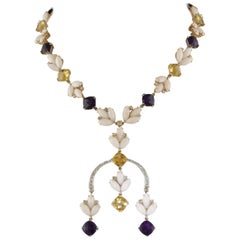 Diamonds Amethysts Yellow Topazes Pink Coral White and Rose Gold Link Necklace