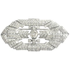 Art Deco 5.25 Carat Diamonds 18 Karat White Gold Brooch
