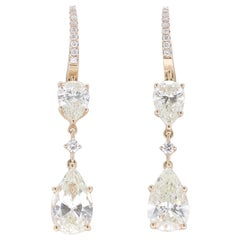 6.23 Carat Certified Pear or Round Diamond Pendant Earrings 18 Karat Rose Gold