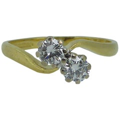 Vintage Two-Stone Diamond Twist Engagement Ring in 18 Carat Gold