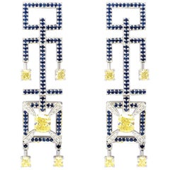 Frohmann Fancy Yellow Diamond and Sapphire Earrings
